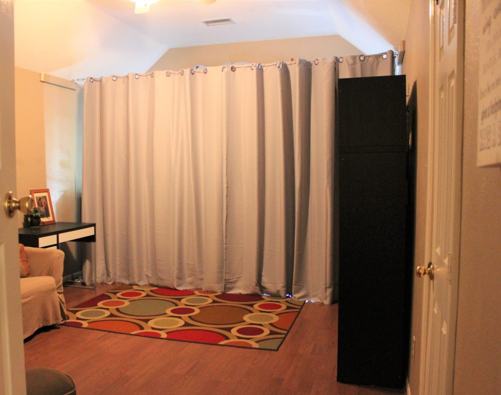 curtain room dividers ideas for adding more rooms to your house kate and family. Black Bedroom Furniture Sets. Home Design Ideas